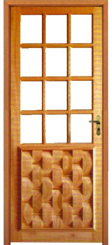 Porta Couro com vidro Quadriculado em Liptus