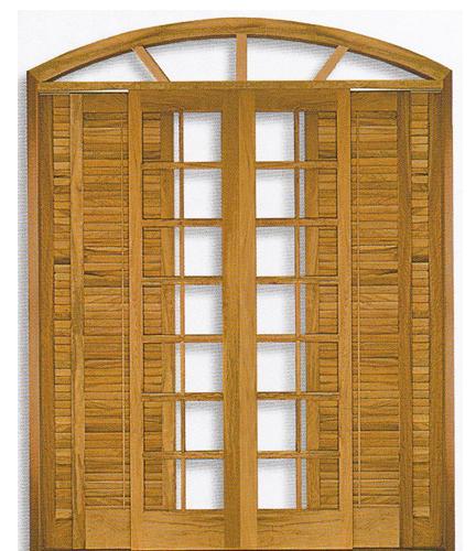 Porta Arco Vidro e Veneziana de Correr  em Angelim pedra